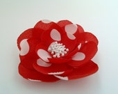 Polka Dots Silk Flower Brooch/Pin Red and White Flower for scarf,belt,hat,bag and etc.