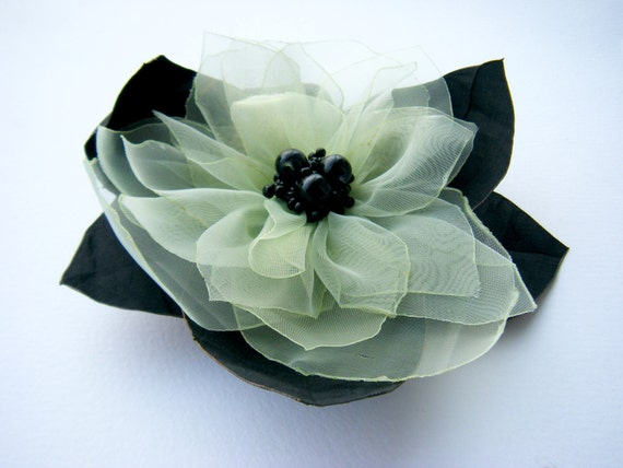 Mint green and black Brooch Pin,Silk fabric flower,Wedding accessories