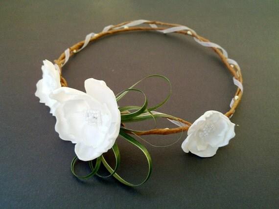 Wedding Tiara, Flower Crown, White whimsical fairy wedding, bridal accessories, wedding hair,Fairy Princess,Flower girl