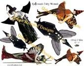 Halloween Fairy Women - Digital Collage Sheet - Instant Art