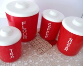 Vintage Red and White Canister Set - RETRO 1950s Kitchen - 4 PIECE SET - Flour - Sugar - Coffee - Tea