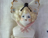 Vintage Butterfly Hat Porcelain Doll - Blonde Hair - Bisque Legs Arms