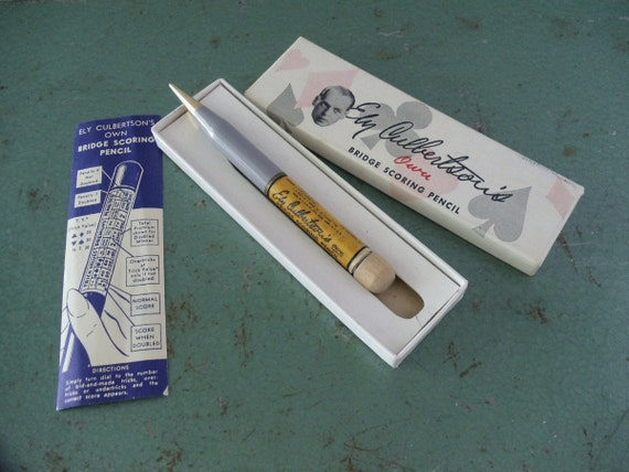 Vintage Bridge Score Mechanical Pencil by Ely Culbertson - Original Box and Instructions