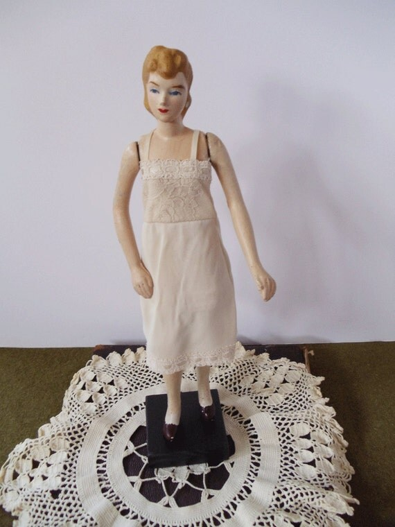 1940s Doll Mannequin Doll with Dress and Slip On Stand