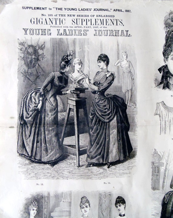 1887 Young Ladies Journal Page - RARE GIGANTIC SUPPLEMENTS - 47 inches by 33 inches