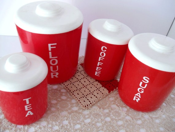 Vintage Red And White Canister Set Retro 1950s Kitchen 4