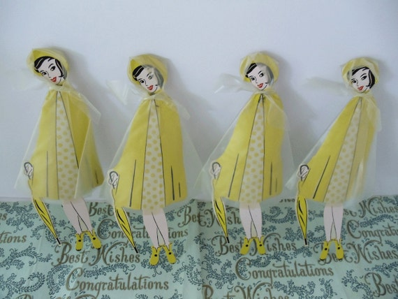 RETRO BRIDAL Shower Decorations - Set of 4 Table Decor Women in Rain Cape with Umbrella