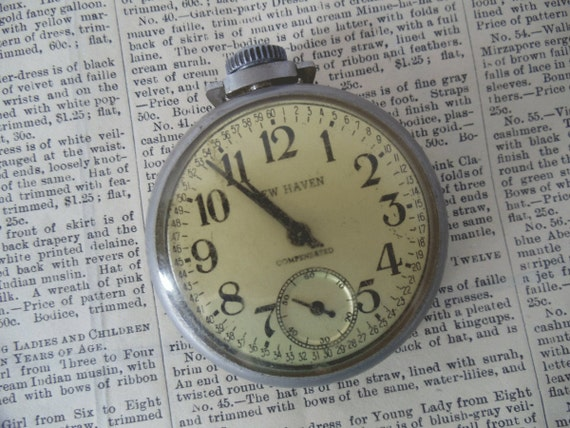 Vintage POCKET WATCH by New Haven - Compensated - StEaMpUnK - Parts - Jewelry - Altered Arts