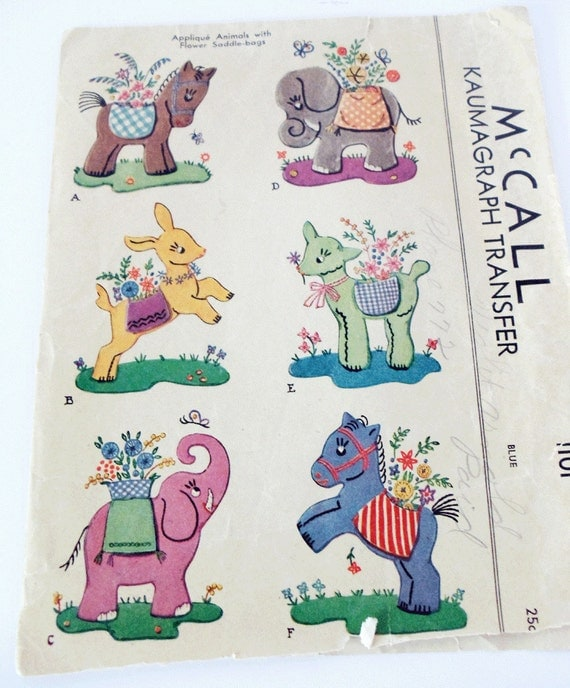 Vintage Pattern Applique Animals with Flowers in Saddle Bags - 1940s McCall Kaumagraph Transfer Pattern 1101