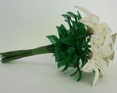 SALE- Champagne French Beaded Lily Wedding Bouquet
