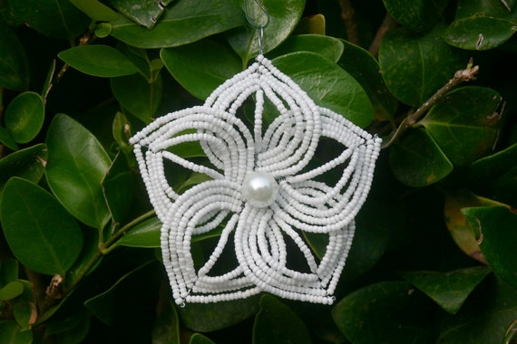 Snowflake White French Beaded Flower Christmas Ornament