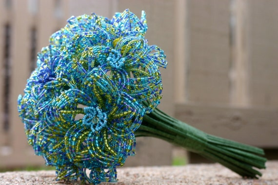 Reserved For K Bibeau Mixed Blue French Beaded Flower Wedding
