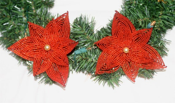 SALE-Set of Two French Beaded Poinsettia Christmas Decorative Additions