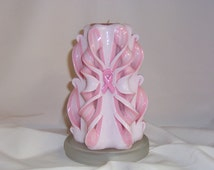 Candle, carved breast cancer