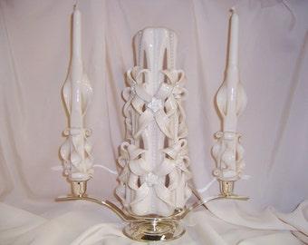 Carved ivory wedding unity candle set