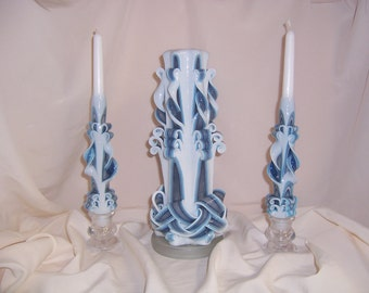 Carved wedding unity candles