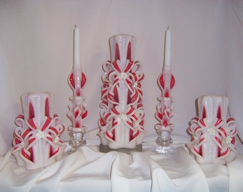 Carved red and ivory wedding unity 5 piece set
