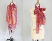 Huge Sheer Scarf / Floral Sketch Wrap / Sarong
