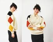s a l e Diamond Cream Sweater / Chunky Wool Sweater