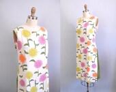 1960s Dress / 60s Linen Floral / Olive Splits