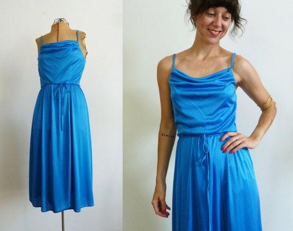 sale 1970s Dress / 70s Electric Blue Disco