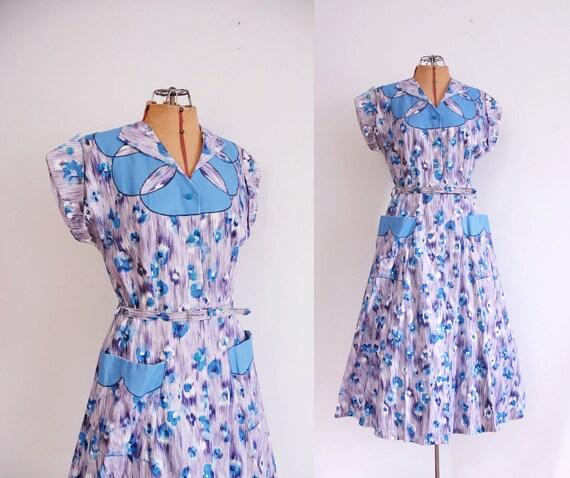 50s Dress / 1950s Painters Cotton Dress