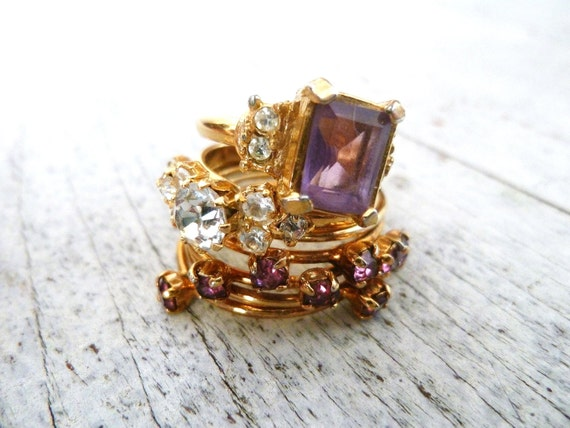 Set of 3 Rings / 1980s Bling / 80s Costume Jewelry
