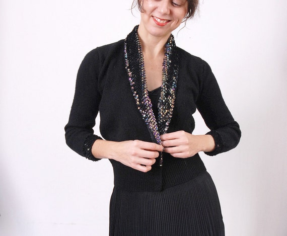 Sequin Sweater / Beaded Cardigan / Tuxedo Style
