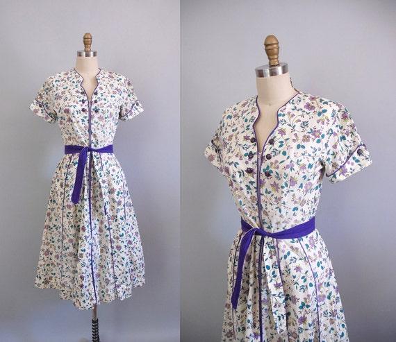 1940s Dress / 40s Violet Cream Dress