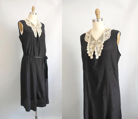1920s Dress / 20s XL Silk Dress / Cream Lace