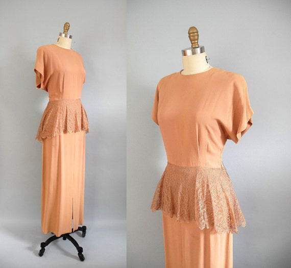 s a l e 1940s Gown / 40s Lace Peplum Dress / as is