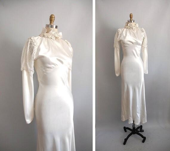 r e s e r v e d 1930s Wedding Dress / 30s Silk Rosettes Dress / Bias Cut