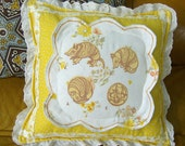 Armadillo Roll-Up Throw Pillow Hand-Printed