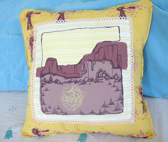 Southwest Desert Tumbleweed Pillow Hand-printed