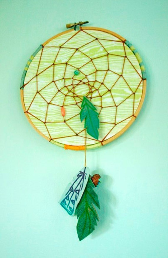 Lime, Leather, and Woodgrain Dreamcatcher Wall-Hanging