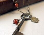 Skeleton Key Necklace Religious Charm Medal  Gypsy Boho Chic.