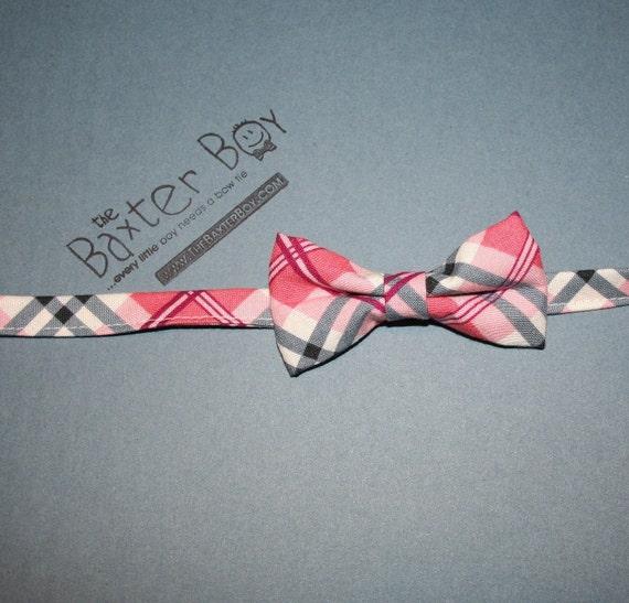 SALE*** Pink & Grey diagonal plaid bow tie, little boy bow tie - photo prop, wedding, ring bearer, accessory