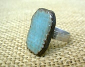 Adjustable Rectangle Pottery Ring- Teal