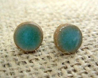 Pottery Post Earrings- Turquoise