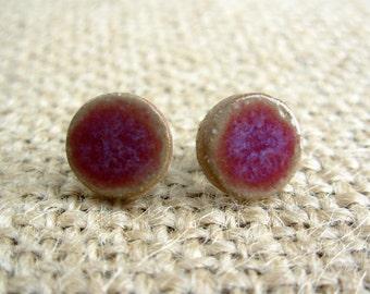 Pottery Post Earrings- Purple Orchid
