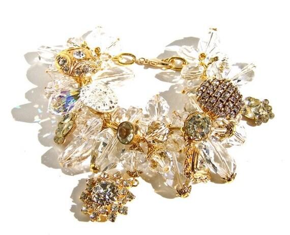Vintage Wedding Bracelet, Bridal Jewelry by dabchickvintagegems on Etsy