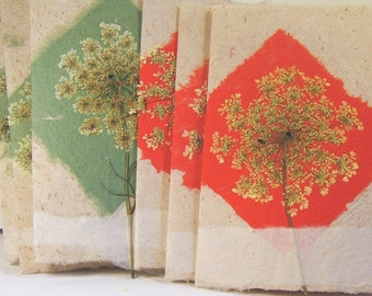 Delicate, Lacey Floral Red and Green Diamond Paper Cards-set of 6 Hand Made Paper Cards