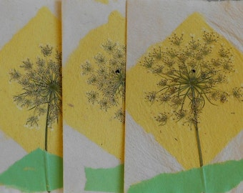 Hand Made Paper Cards-Bright Lemon Yellow Diamond with Queen Anne's Lace Flower-Set of 5 cards