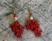 Red Coral Beaded Earrings with White Pearl