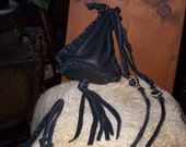 Hand Laced  Black Deerskin Drawstring Circle Drop Leather Bag  Side Draw