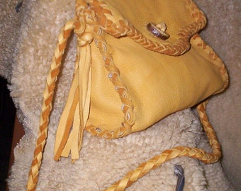 Sale Hand Laced Leather Deerskin Fully Lined in ivory Ultra Suede Tammy Bag