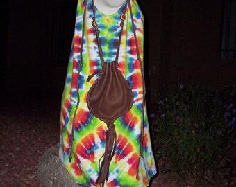 Sale Hand Laced Brown Deerskin Side Draw Drop Bag Purse Pouch