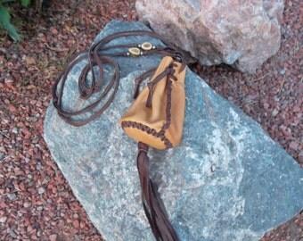 Sale Hand Laced Deerskin Hippie Boho Circle Drop Bag Purse Pouch