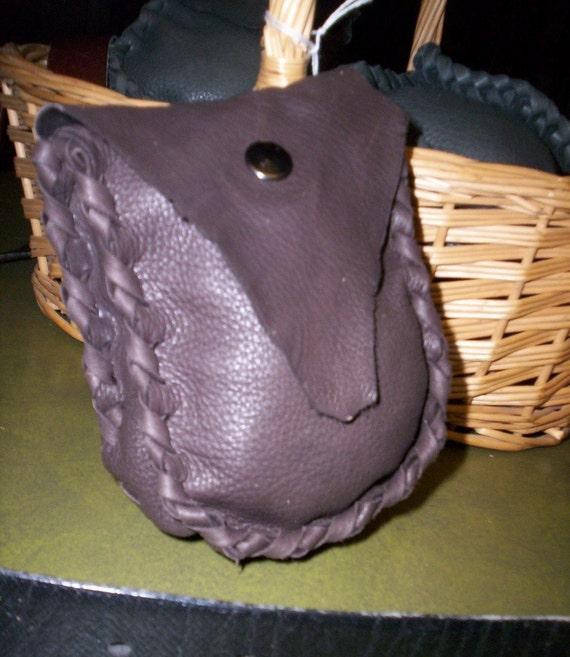 Hand Laced  Deerskin Belt Pouch  Brown Raunch Flap
