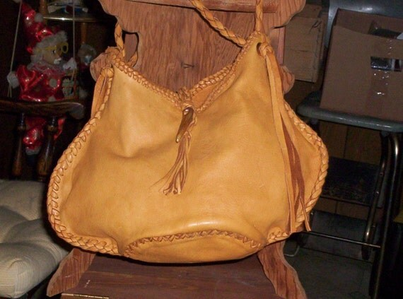 Hand Laced Leather Deerskin Fully Lined in Leather Blucket Bag